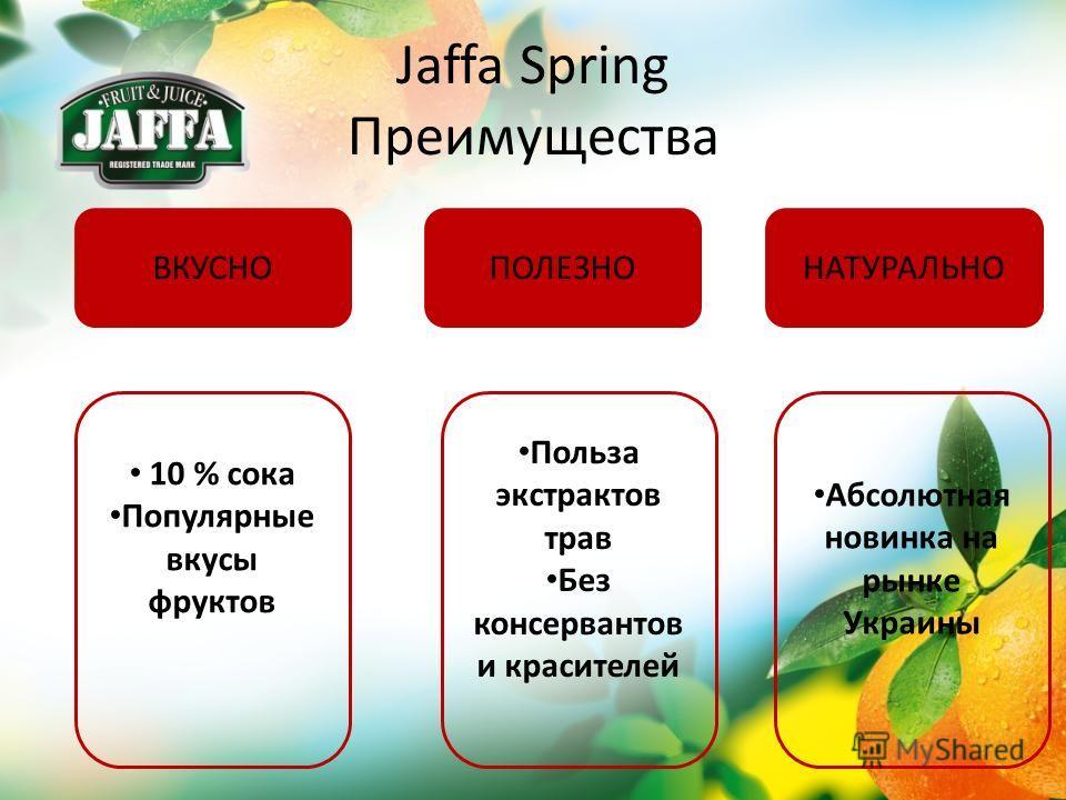 Jaffa Spring Преимущества ВКУСНОПОЛЕЗНОНАТУРАЛЬНО 10 % сока Популярные вкусы фруктов Польза экстрактов трав Без консервантов и красителей Абсолютная новинка на рынке Украины