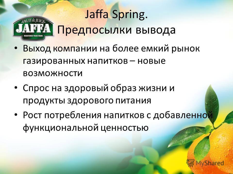 Jaffa Spring. Предпосылки вывода Выход компании на более емкий рынок газированных напитков – новые возможности Спрос на здоровый образ жизни и продукты здорового питания Рост потребления напитков с добавленной функциональной ценностью