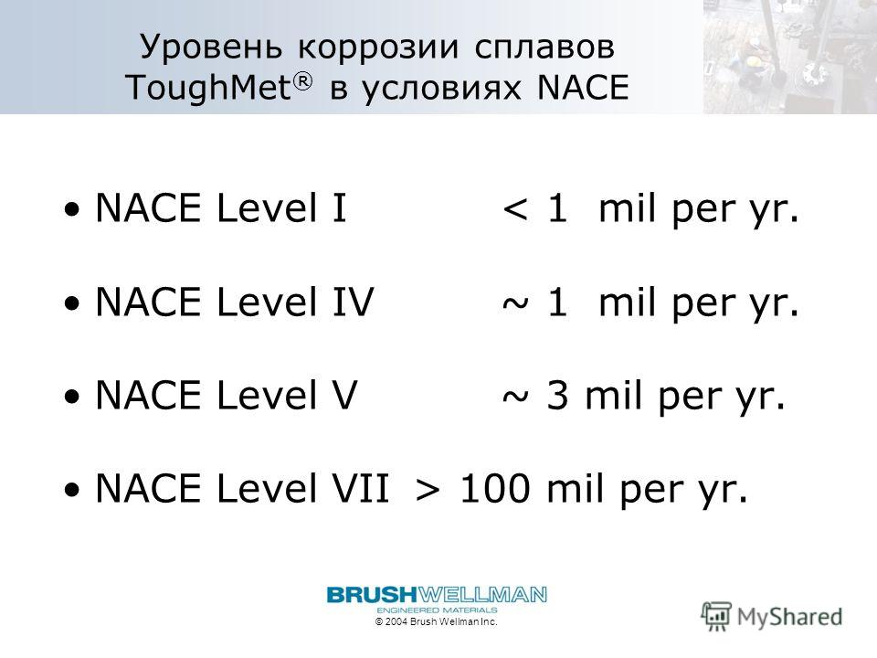 © 2004 Brush Wellman Inc. Уровень коррозии сплавов ToughMet ® в условиях NACE NACE Level I< 1 mil per yr. NACE Level IV ~ 1 mil per yr. NACE Level V ~ 3 mil per yr. NACE Level VII> 100 mil per yr.