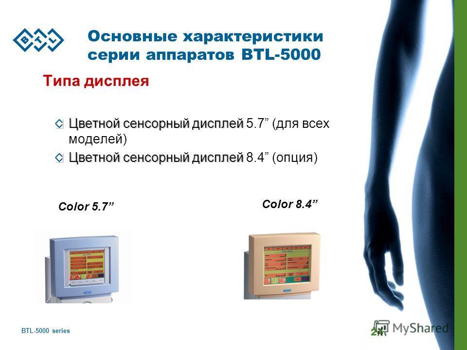 BTL-5000 series 24 Основные характеристики серии аппаратов BTL-5000 Типа дисплея Цветной сенсорный дисплей Цветной сенсорный дисплей 5.7 (для всех моделей) Цветной сенсорный дисплей Цветной сенсорный дисплей 8.4 (опция) Color 8.4 Color 5.7