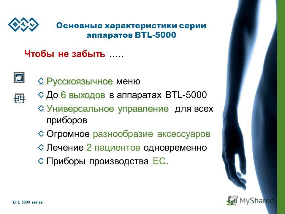BTL-5000 series 32 Основные характеристики серии аппаратов BTL-5000 Чтобы не забыть ….. Русскоязычное Русскоязычное меню 6 выходов До 6 выходов в аппаратах BTL-5000 Универсальное управление Универсальное управление для всех приборов Огромное разнообр