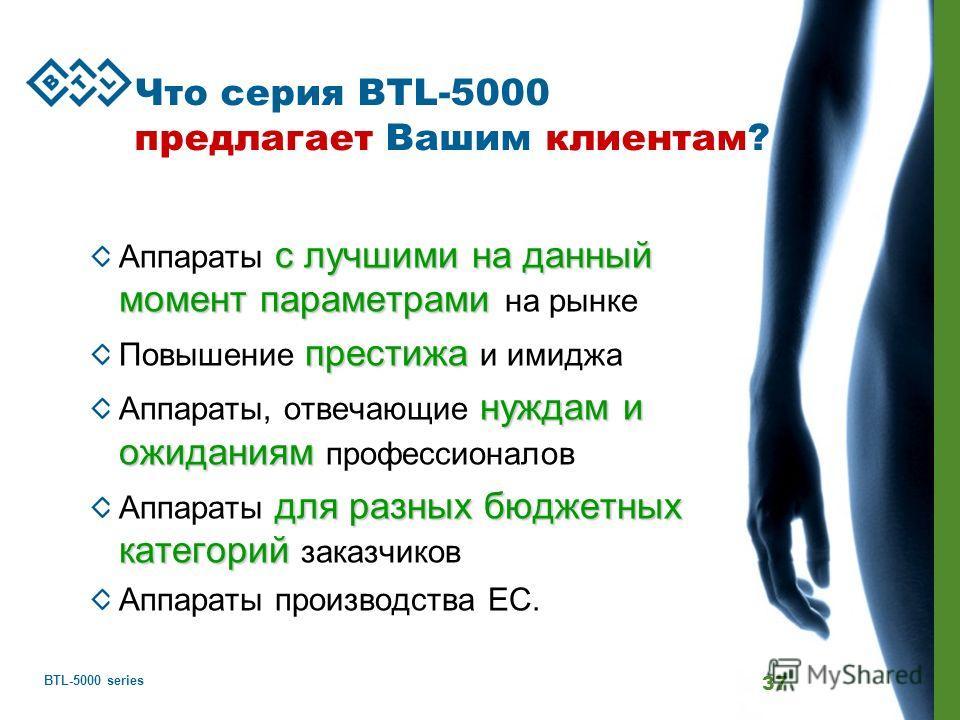 BTL-5000 series 37 Что серия BTL-5000 предлагает Вашим клиентам? с лучшими на данный момент параметрами Аппараты с лучшими на данный момент параметрами на рынке престижа Повышение престижа и имиджа нуждам и ожиданиям Аппараты, отвечающие нуждам и ожи