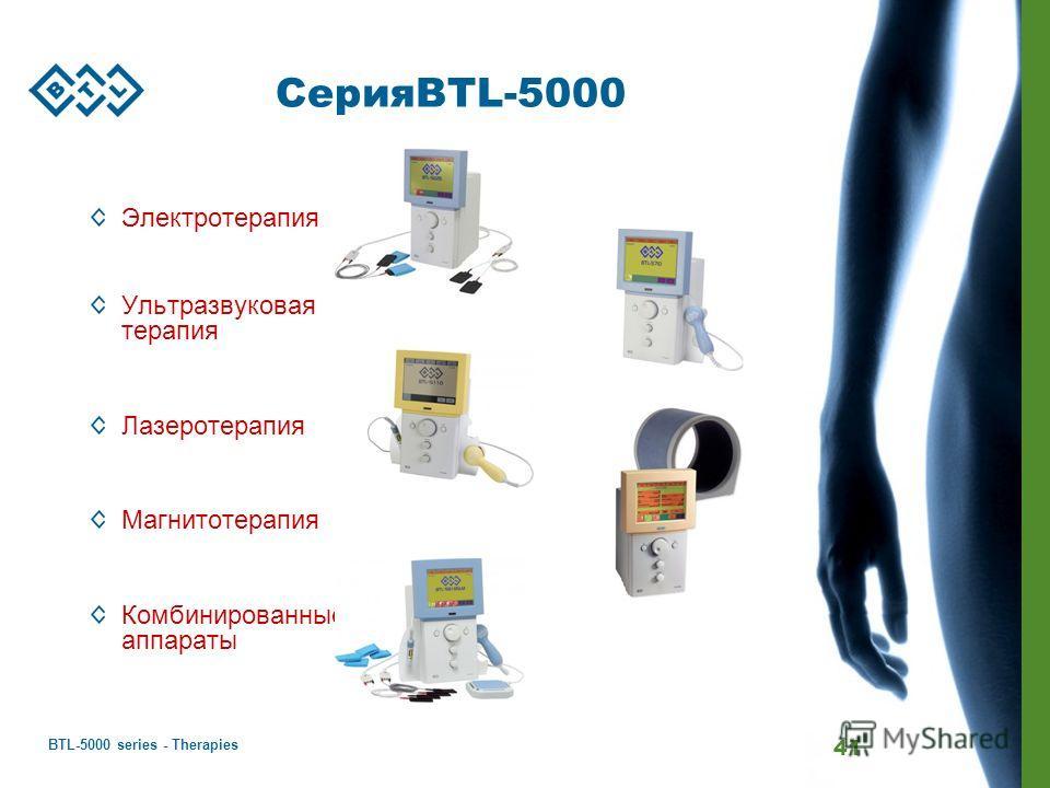 BTL-5000 series - Therapies 41 СерияBTL-5000 Электротерапия Ультразвуковая терапия Лазеротерапия Магнитотерапия Комбинированные аппараты