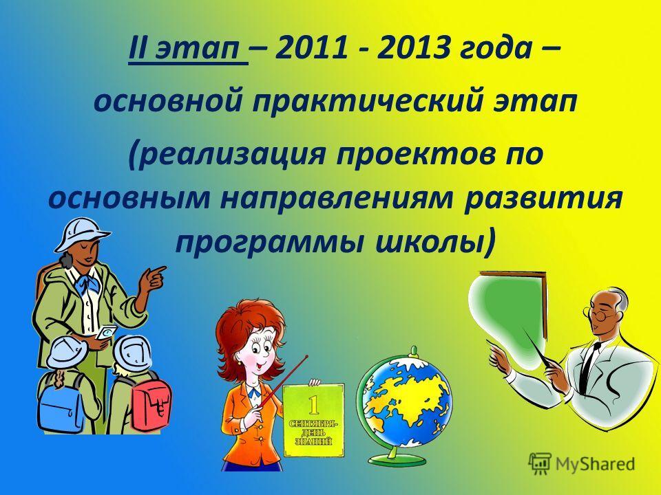ІІ этап – 2011 - 2013 года – основной практический этап (реализация проектов по основным направлениям развития программы школы)