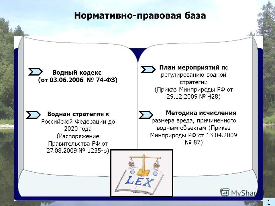 Нормативно-правовая база Водный кодекс (от 03.06.2006 74-ФЗ) Водная стратегия Водная стратегия в Российской Федерации до 2020 года (Распоряжение Правительства РФ от 27.08.2009 1235-р) План мероприятий по регулированию водной стратегии (Приказ Минприр