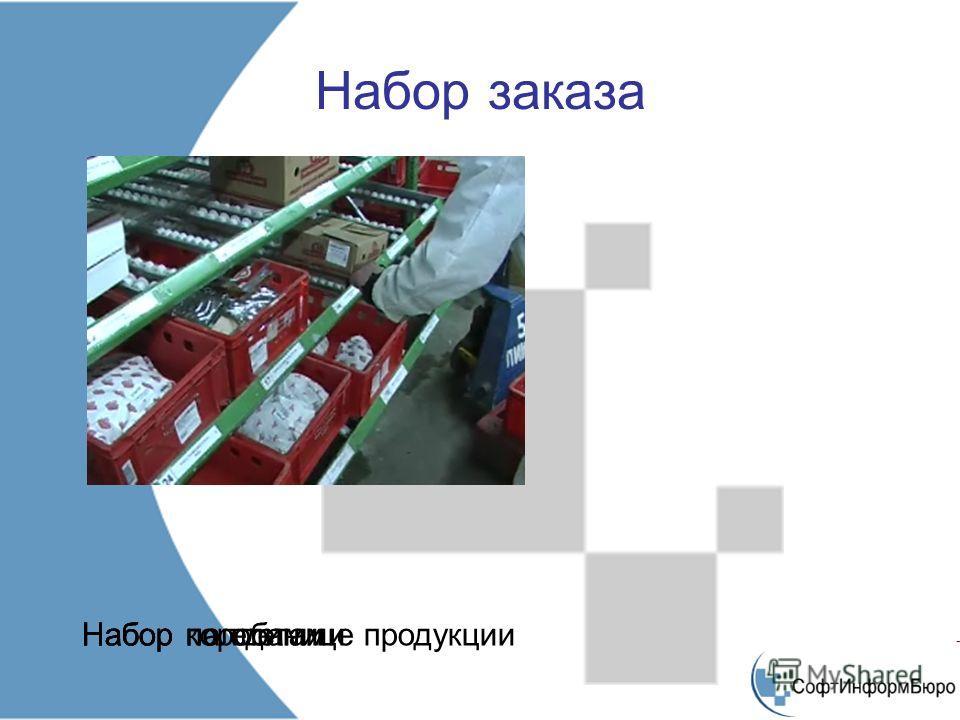 Набор заказа Набор по единице продукцииНабор коробамиНабор паллетами