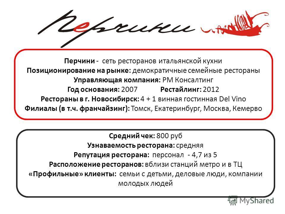 Перчини - сеть ресторанов итальянской кухни Позиционирование на рынке: демократичные семейные рестораны Управляющая компания: РМ Консалтинг Год основания: 2007 Рестайлинг: 2012 Рестораны в г. Новосибирск: 4 + 1 винная гостинная Del Vino Филиалы (в т.