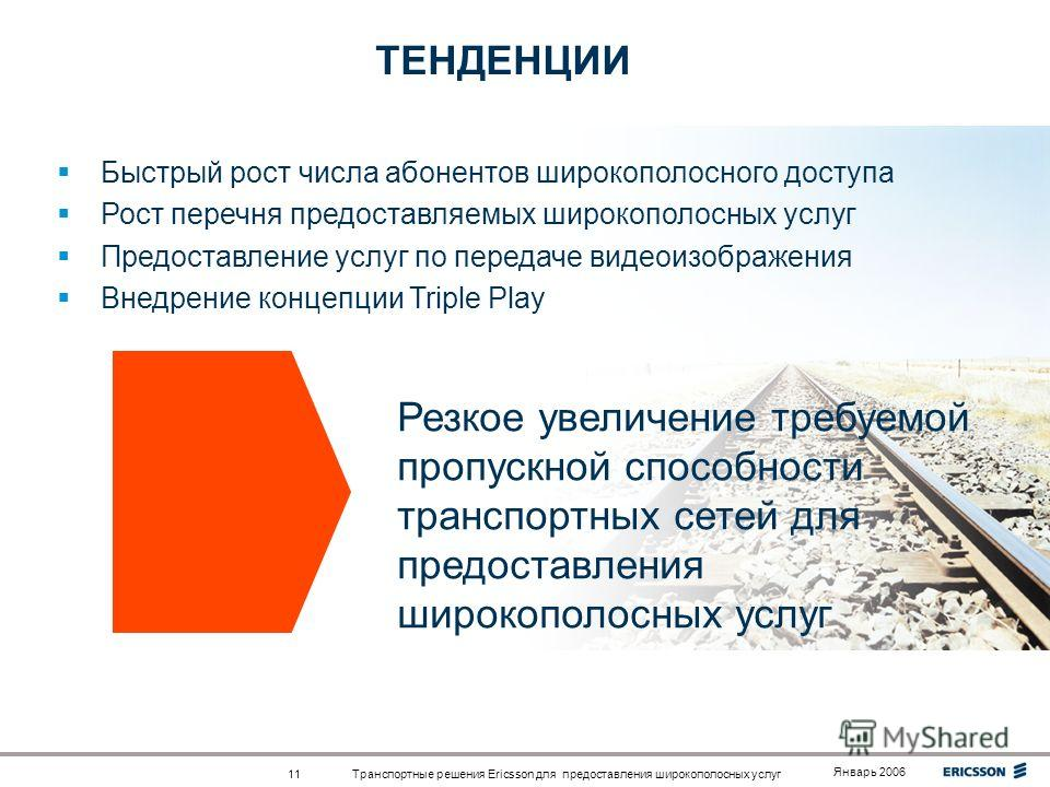 Top right corner for field-mark, customer or partner logotypes. See Best practice for example. Slide title 40 pt Slide subtitle 24 pt Text 24 pt Bullets level 2-5 20 pt Транспортные решения Ericsson для предоставления широкополосных услуг Январь 2006