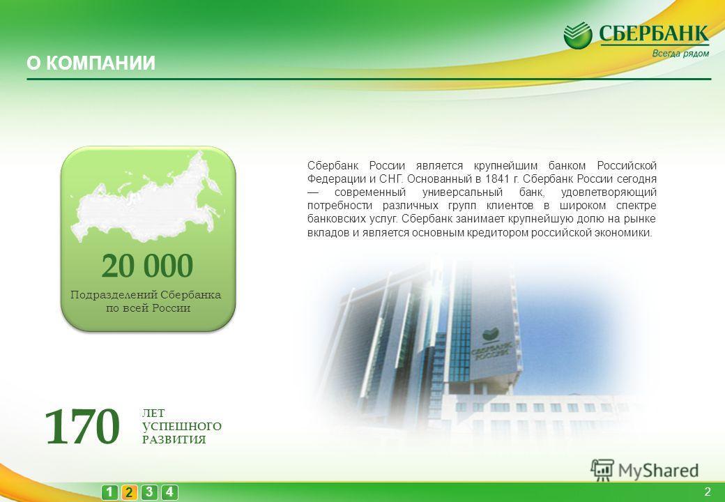 О КОМПАНИИ 1 2 43 Сбербанк России является крупнейшим банком Российской Федерации и СНГ. Основанный в 1841 г. Сбербанк России сегодня современный универсальный банк, удовлетворяющий потребности различных групп клиентов в широком спектре банковских ус