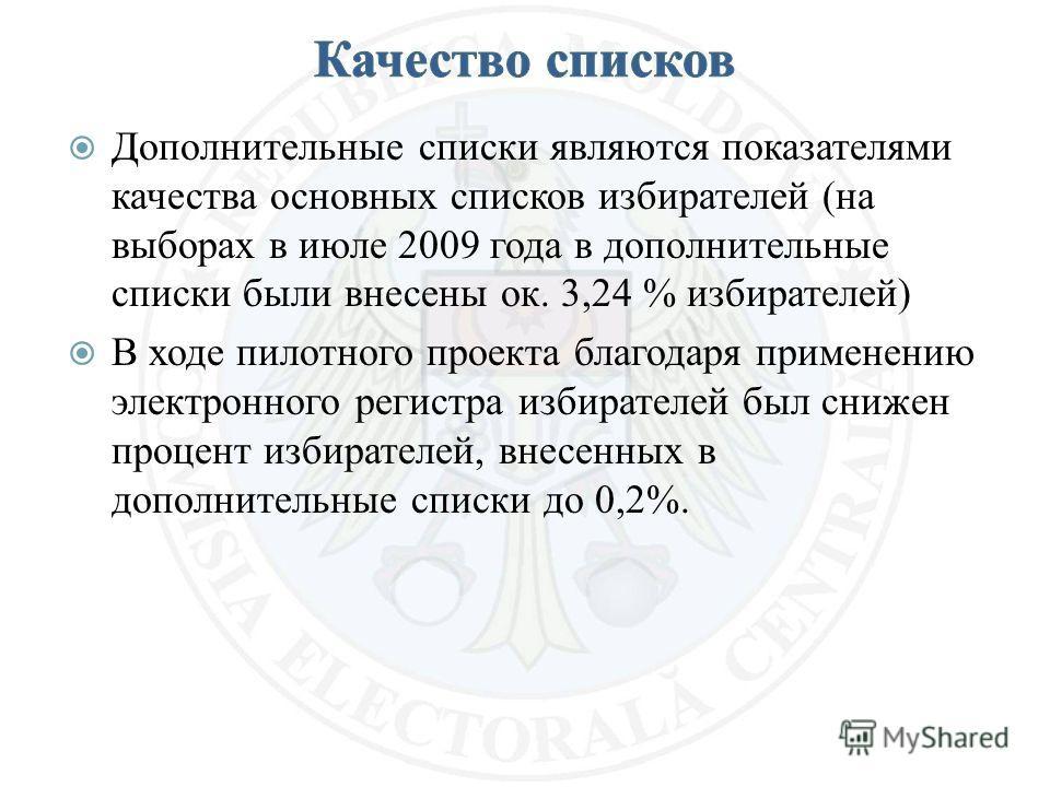 Дополнительные списки являются показателями качества основных списков избирателей (на выборах в июле 2009 года в дополнительные списки были внесены ок. 3,24 % избирателей) В ходе пилотного проекта благодаря применению электронного регистра избирателе
