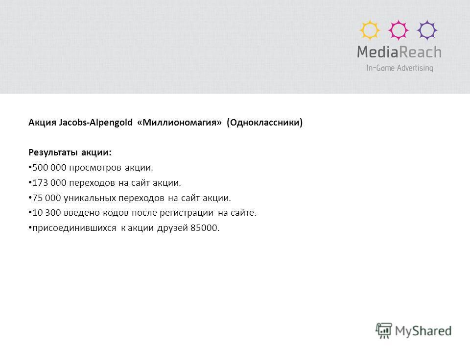 Акция Jacobs-Alpengold «Миллиономагия» (Одноклассники) Результаты акции: 500 000 просмотров акции. 173 000 переходов на сайт акции. 75 000 уникальных переходов на сайт акции. 10 300 введено кодов после регистрации на сайте. присоединившихся к акци