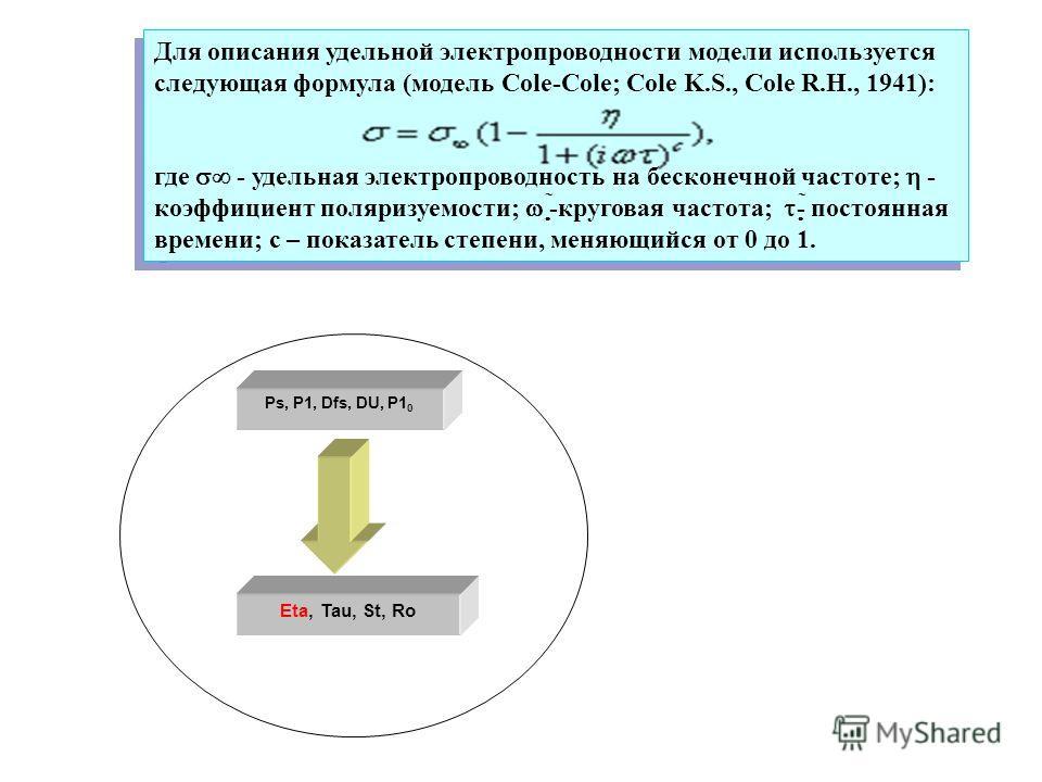 Eta, Tau, St, Ro Ps, P1, Dfs, DU, P1 0 Для описания удельной электропроводности модели используется следующая формула (модель Cole-Cole; Cole K.S., Cole R.H., 1941): где - удельная электропроводность на бесконечной частоте; - коэффициент поляризуемос
