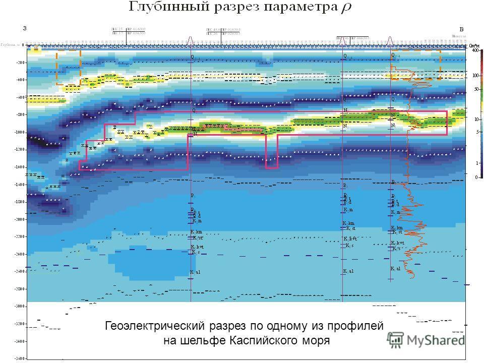 Геоэлектрический разрез по одному из профилей на шельфе Каспийского моря