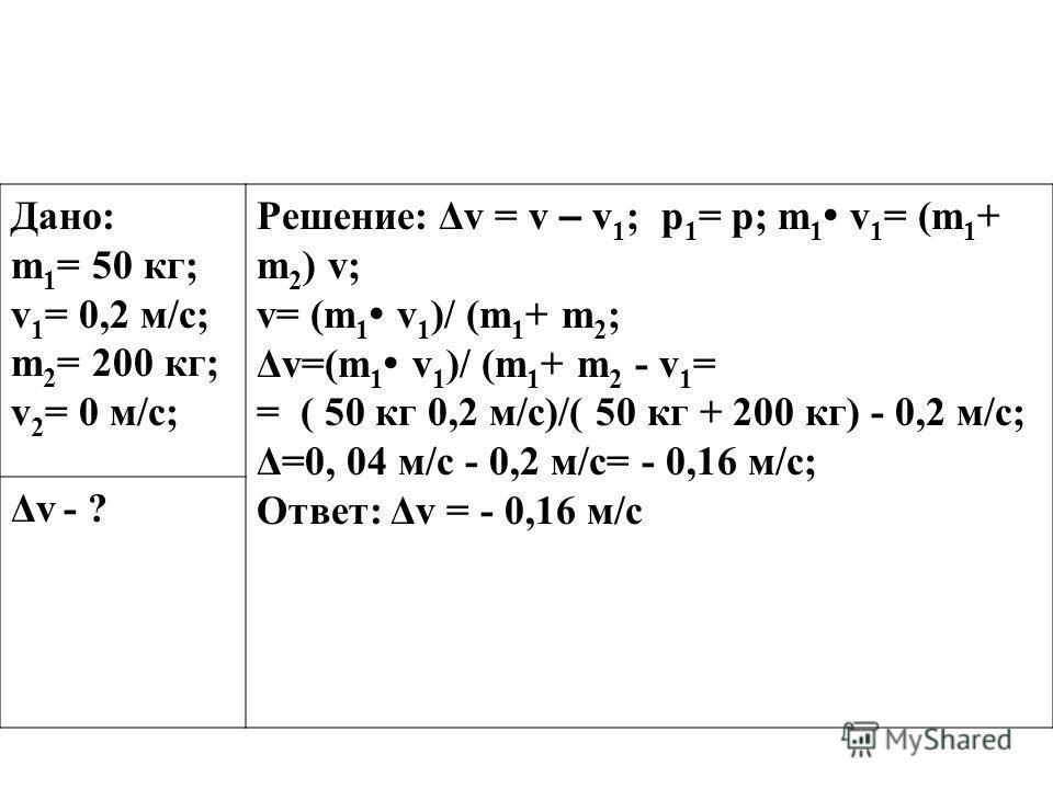 Дано: m 1 = 50 кг; v 1 = 0,2 м/с; m 2 = 200 кг; v 2 = 0 м/с; Решение: Δv = v – v 1 ; p 1 = p; m 1 v 1 = (m 1 + m 2 ) v; v= (m 1 v 1 )/ (m 1 + m 2 ; Δv=(m 1 v 1 )/ (m 1 + m 2 - v 1 = = ( 50 кг 0,2 м/с)/( 50 кг + 200 кг) - 0,2 м/с; Δ=0, 04 м/с - 0,2 м/