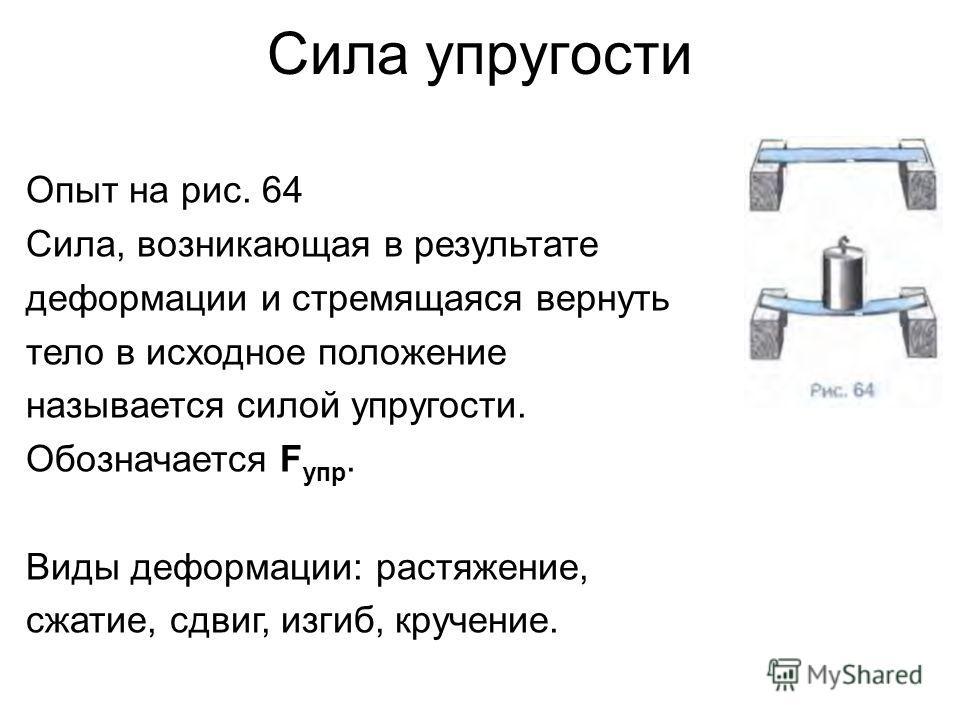 Сила упругости Опыт на рис. 64 Сила, возникающая в результате деформации и стремящаяся вернуть тело в исходное положение называется силой упругости. Обозначается F упр. Виды деформации: растяжение, сжатие, сдвиг, изгиб, кручение.