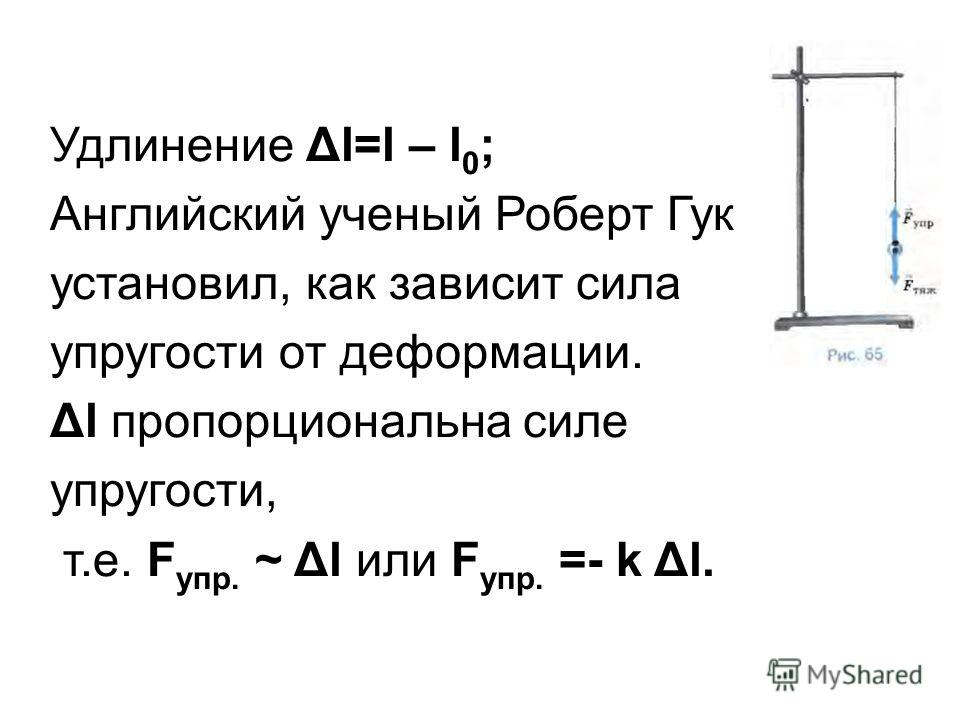Удлинение Δl=l – l 0 ; Английский ученый Роберт Гук установил, как зависит сила упругости от деформации. Δl пропорциональна силе упругости, т.е. F упр. ~ Δl или F упр. =- k Δl.