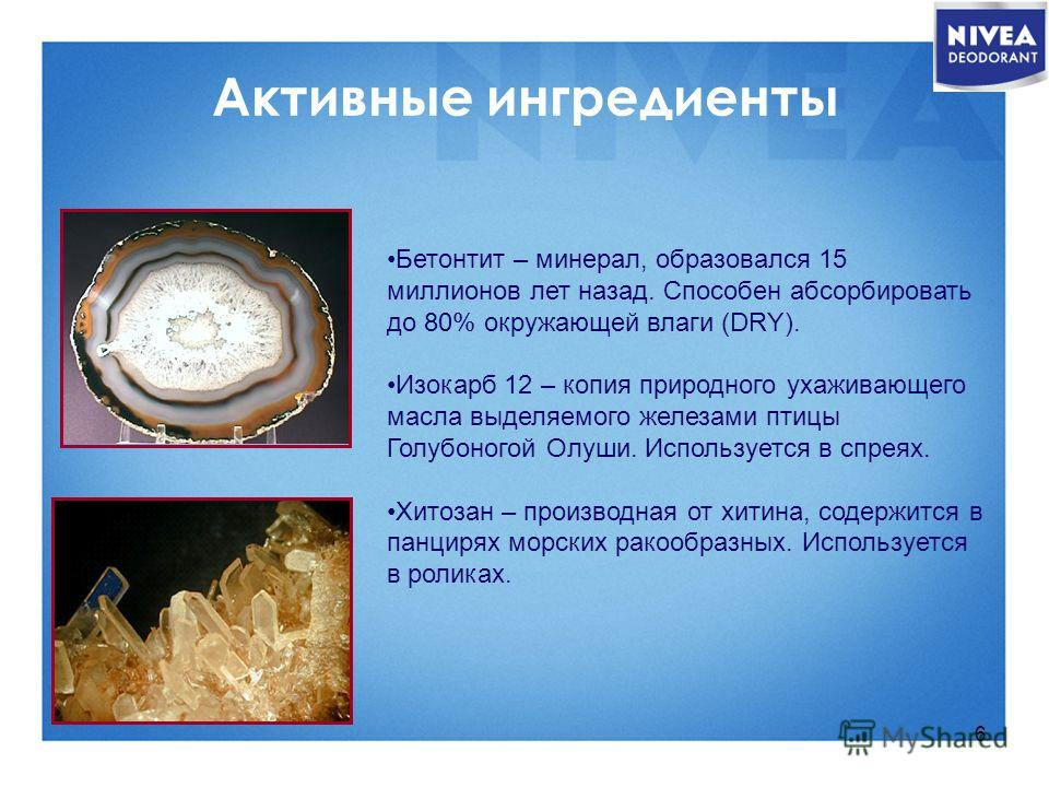 6 Активные ингредиенты Бетонтит – минерал, образовался 15 миллионов лет назад. Способен абсорбировать до 80% окружающей влаги (DRY). Изокарб 12 – копия природного ухаживающего масла выделяемого железами птицы Голубоногой Oлуши. Используется в спреях.