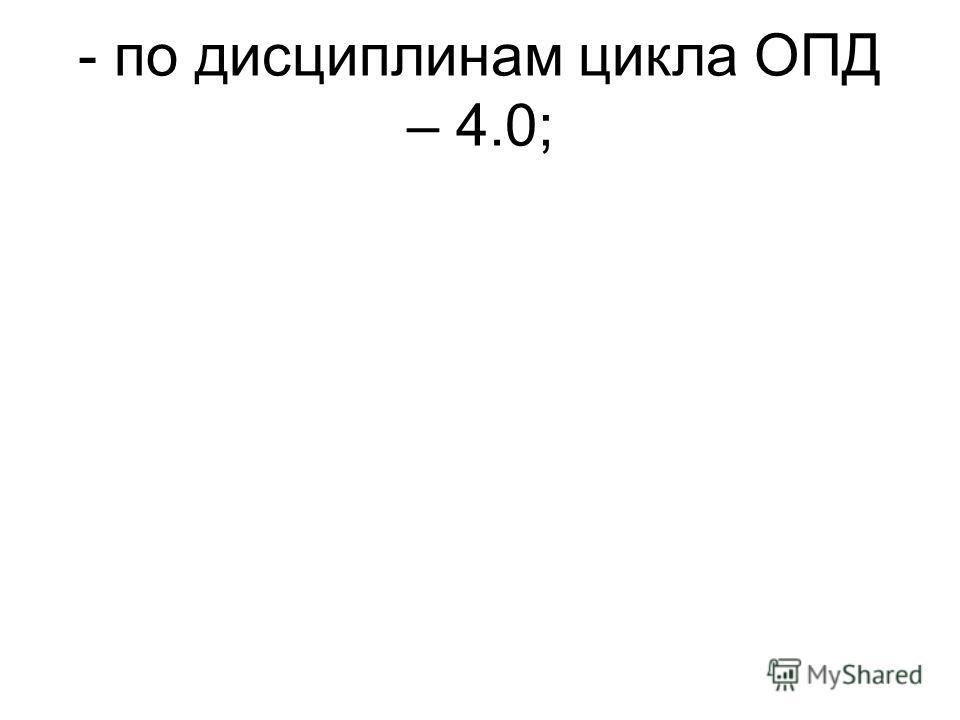 - по дисциплинам цикла ОПД – 4.0;