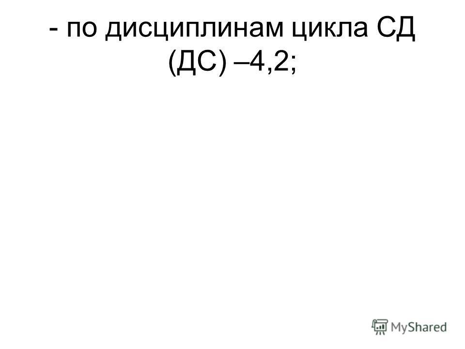 - по дисциплинам цикла СД (ДС) –4,2;