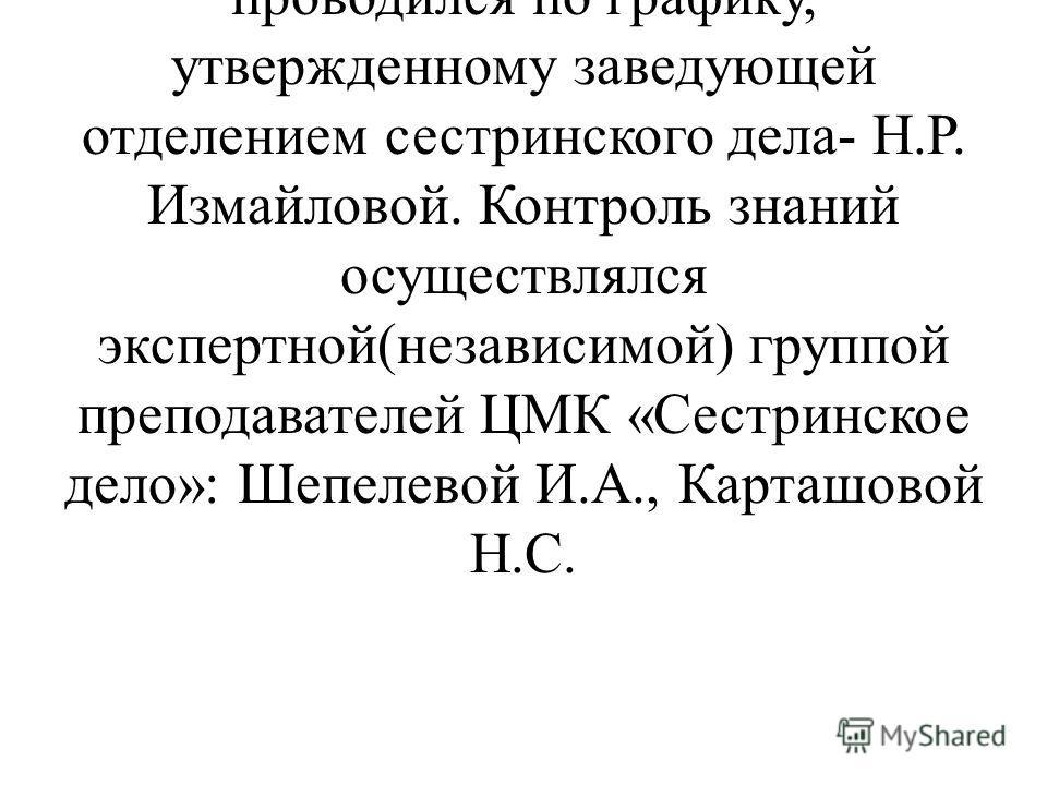Контрольный срез знаний по предметам ОПД цикла «Человек» проводился согласно приказу зам.директора по УР Л.И.Соловьевой. Срез знаний проводился по графику, утвержденному заведующей отделением сестринского дела- Н.Р. Измайловой. Контроль знаний осущес