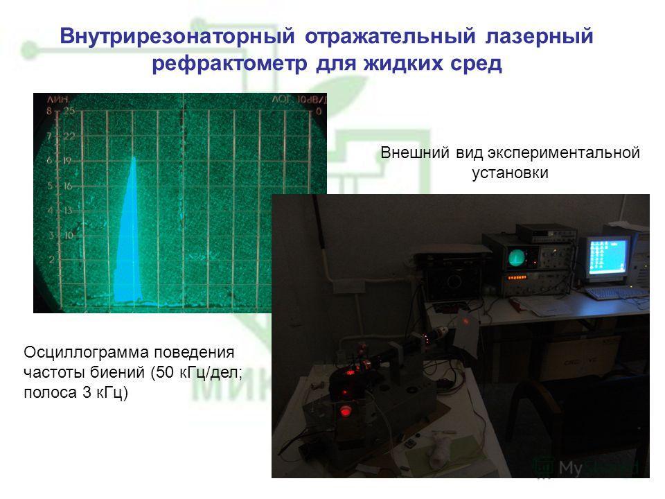 Внутрирезонаторный отражательный лазерный рефрактометр для жидких сред Осциллограмма поведения частоты биений (50 кГц/дел; полоса 3 кГц) Внешний вид экспериментальной установки