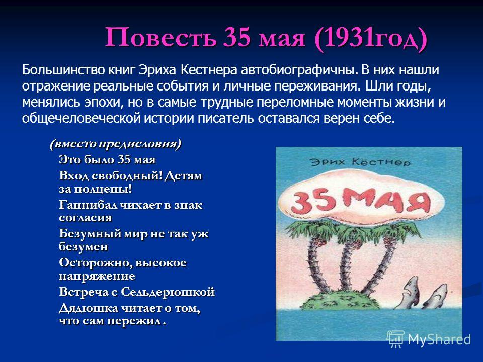 Повесть 35 мая (1931год) (вместо предисловия) (вместо предисловия) Это было 35 мая Вход свободный! Детям за полцены! Ганнибал чихает в знак согласия Безумный мир не так уж безумен Осторожно, высокое напряжение Встреча с Сельдерюшкой Дядюшка читает о