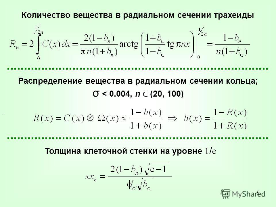5. Количество вещества в радиальном сечении трахеиды Распределение вещества в радиальном сечении кольца; σ < 0.004, n (20, 100) Толщина клеточной стенки на уровне 1 / e