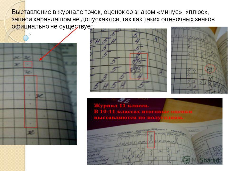 Выставление в журнале точек, оценок со знаком «минус», «плюс», записи карандашом не допускаются, так как таких оценочных знаков официально не существует.