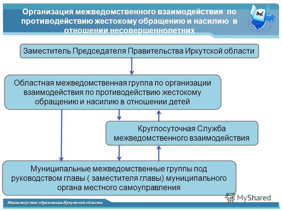 Министерство образования Иркутской области Организация межведомственного взаимодействия по противодействию жестокому обращению и насилию в отношении несовершеннолетних Областная межведомственная группа по организации взаимодействия по противодействию