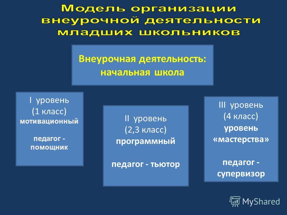 Внеурочная деятельность: начальная школа I уровень (1 класс) мотивационный педагог - помощник II уровень (2,3 класс) программный педагог - тьютор III уровень (4 класс) уровень «мастерства» педагог - супервизор