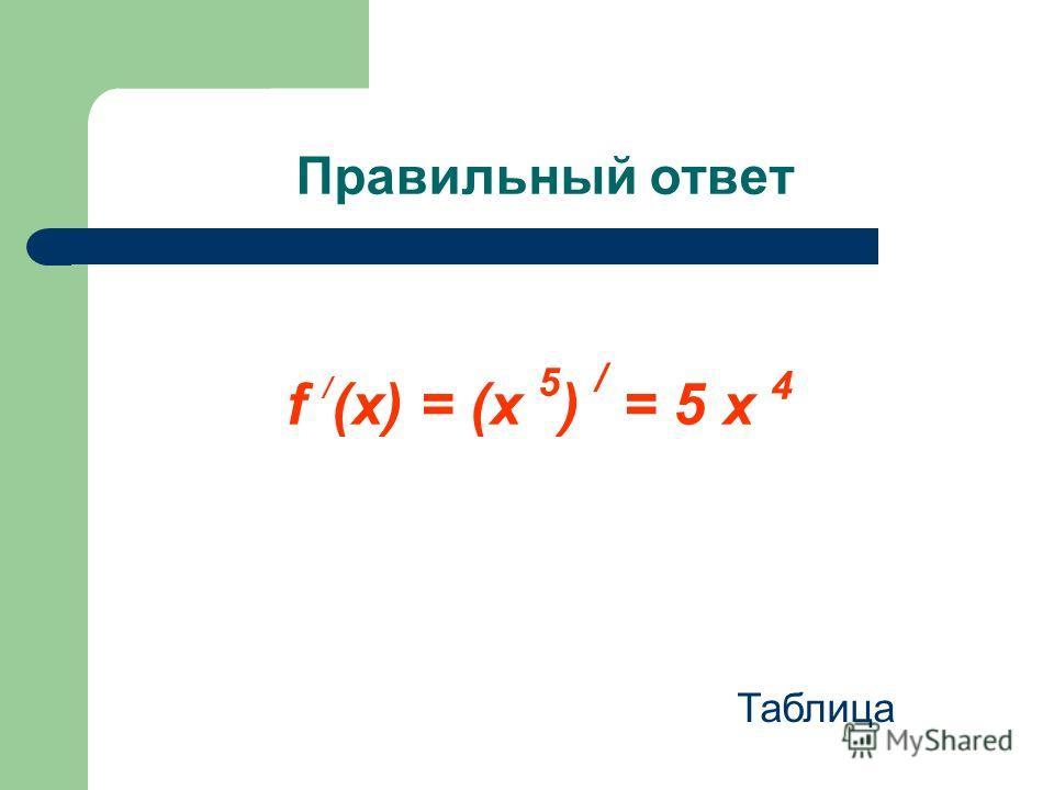 Правильный ответ f / (x) = (x 5 ) / = 5 х 4 Таблица