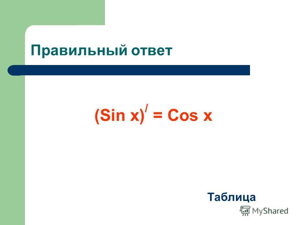 Правильный ответ (Sin x) / = Cos x Таблица
