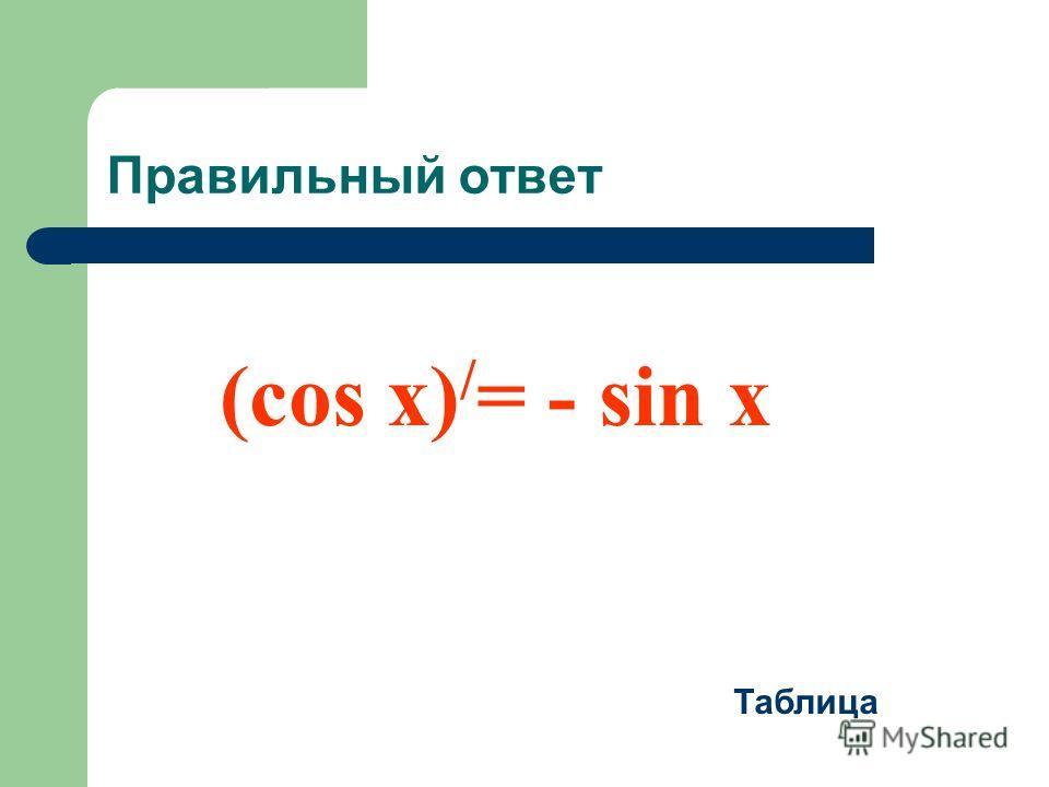 Правильный ответ (cos x) / = - sin x Таблица
