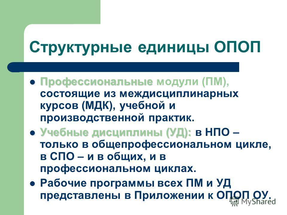 Структурные единицы ОПОП Профессиональные Профессиональные модули (ПМ), состоящие из междисциплинарных курсов (МДК), учебной и производственной практик. Учебные дисциплины (УД): Учебные дисциплины (УД): в НПО – только в общепрофессиональном цикле, в