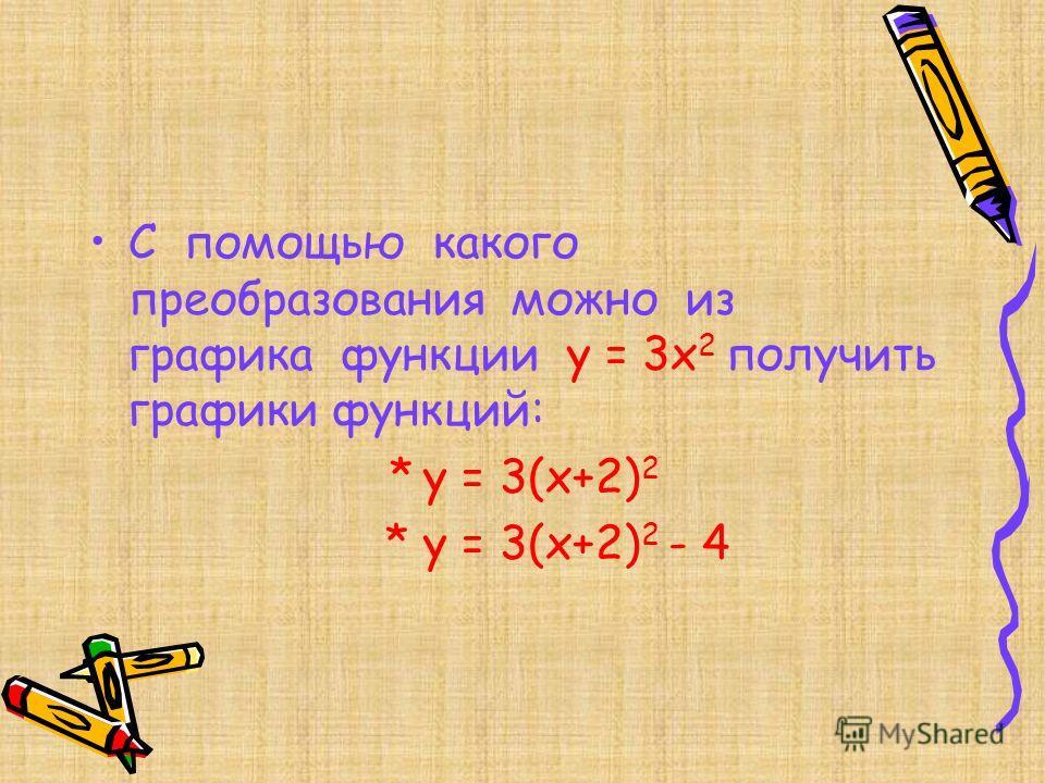 С помощью какого преобразования можно из графика функции y = 3x 2 получить графики функций: * y = 3(x+2) 2 * y = 3(x+2) 2 - 4