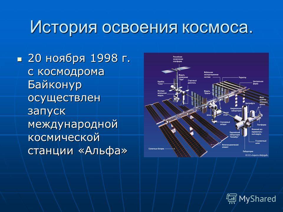 История освоения космоса. 20 ноября 1998 г. с космодрома Байконур осуществлен запуск международной космической станции «Альфа» 20 ноября 1998 г. с космодрома Байконур осуществлен запуск международной космической станции «Альфа»