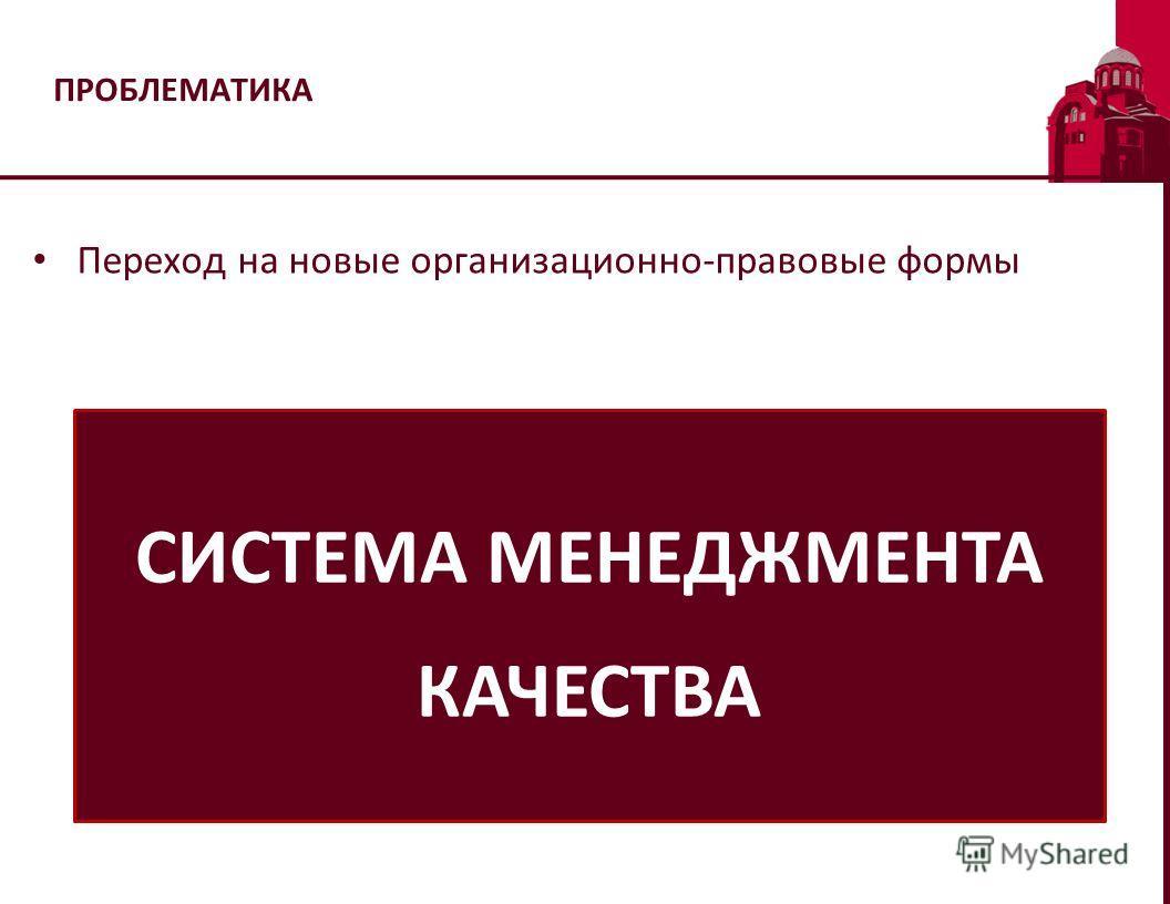 ПРОБЛЕМАТИКА Переход на новые организационно-правовые формы СИСТЕМА МЕНЕДЖМЕНТА КАЧЕСТВА