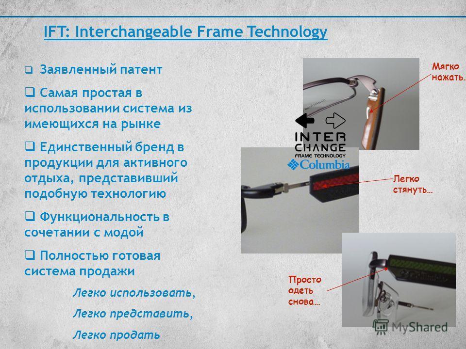 Заявленный патент Самая простая в использовании система из имеющихся на рынке Единственный бренд в продукции для активного отдыха, представивший подобную технологию Функциональность в сочетании с модой Полностью готовая система продажи Легко использо