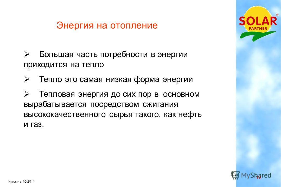 9 Украина 10-2011 Распределение энергопотребления в жилых зданиях Источник: Министерство Экономики ФРГ