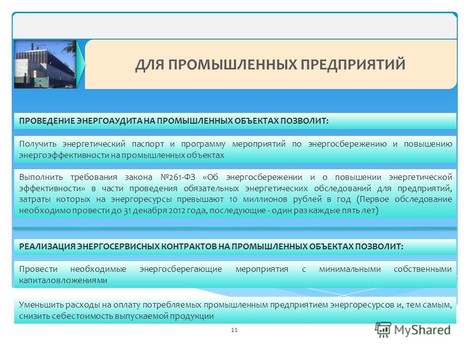 ДЛЯ ПРОМЫШЛЕННЫХ ПРЕДПРИЯТИЙ ПРОВЕДЕНИЕ ЭНЕРГОАУДИТА НА ПРОМЫШЛЕННЫХ ОБЪЕКТАХ ПОЗВОЛИТ: Получить энергетический паспорт и программу мероприятий по энергосбережению и повышению энергоэффективности на промышленных объектах Выполнить требования закона 2