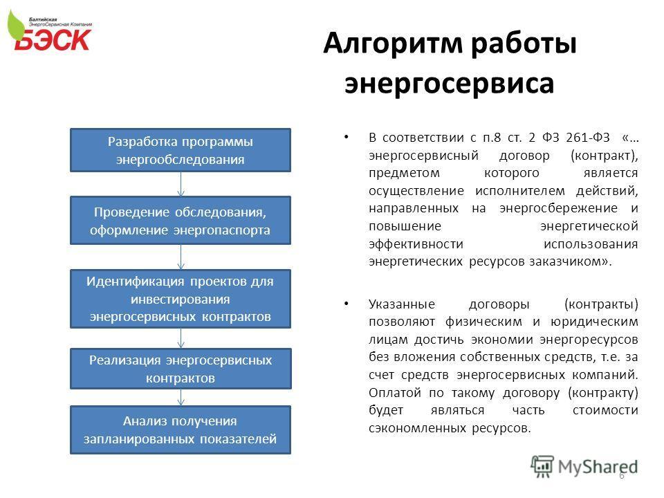 Алгоритм работы энергосервиса 6 В соответствии с п.8 ст. 2 ФЗ 261-ФЗ «… энергосервисный договор (контракт), предметом которого является осуществление исполнителем действий, направленных на энергосбережение и повышение энергетической эффективности исп