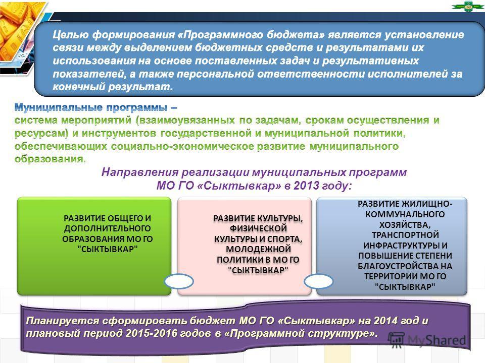 Направления реализации муниципальных программ МО ГО «Сыктывкар» в 2013 году: Планируется сформировать бюджет МО ГО «Сыктывкар» на 2014 год и плановый период 2015-2016 годов в «Программной структуре». РАЗВИТИЕ ОБЩЕГО И ДОПОЛНИТЕЛЬНОГО ОБРАЗОВАНИЯ МО Г