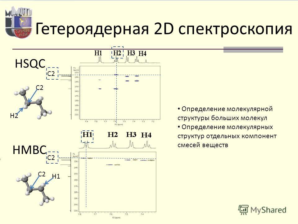 Гетероядерная 2D спектроскопия HSQC HMBC C2 H2 C2 H1 C2 Определение молекулярной структуры больших молекул Определение молекулярных структур отдельных компонент смесей веществ
