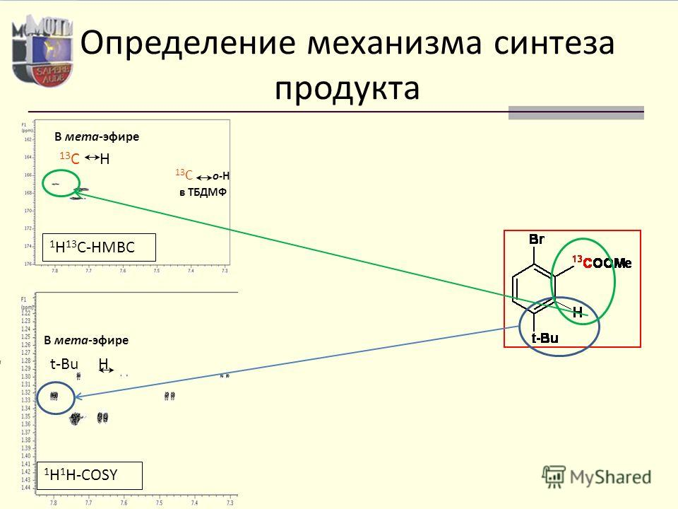 1 H 13 C-HMBC 13 C H В мета-эфире 13 C о-H в ТБДМФ 1 H 1 H-COSY t-Bu H В мета-эфире