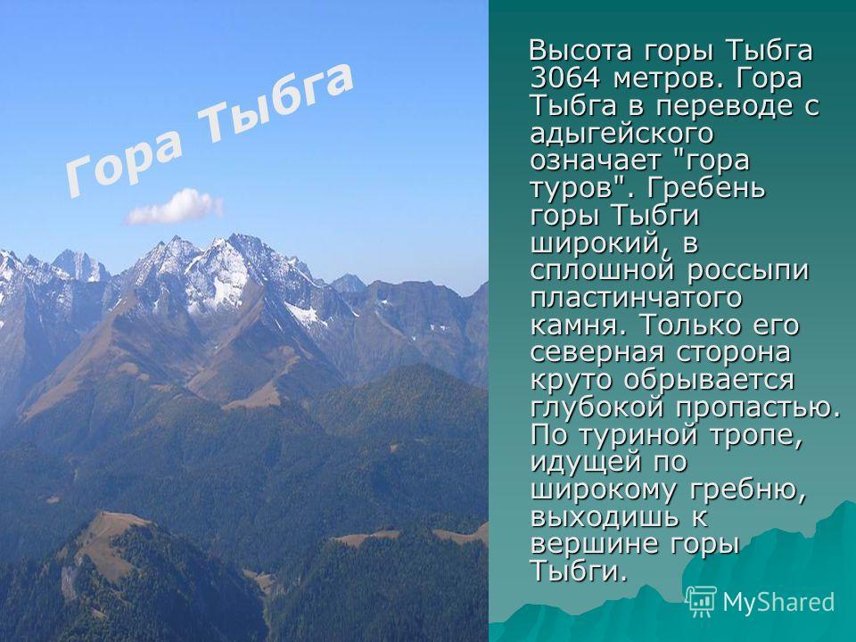 Гора Тыбга Высота горы Тыбга 3064 метров. Гора Тыбга в переводе с адыгейского означает