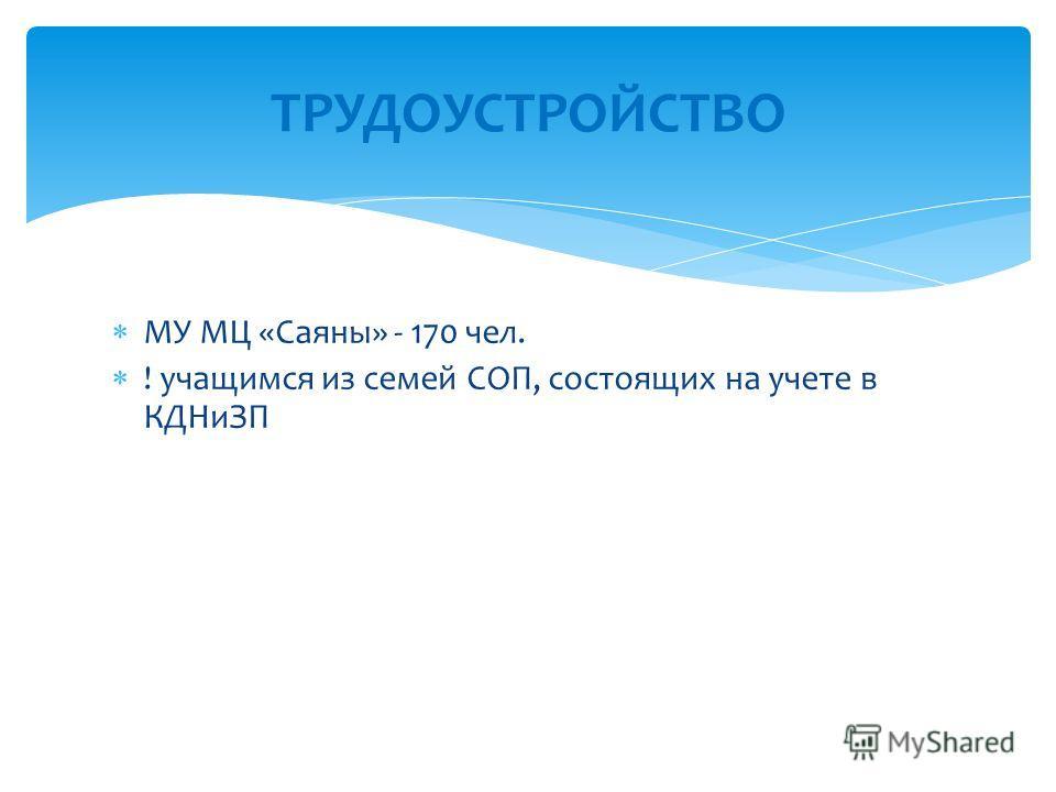 МУ МЦ «Саяны» - 170 чел. ! учащимся из семей СОП, состоящих на учете в КДНиЗП ТРУДОУСТРОЙСТВО