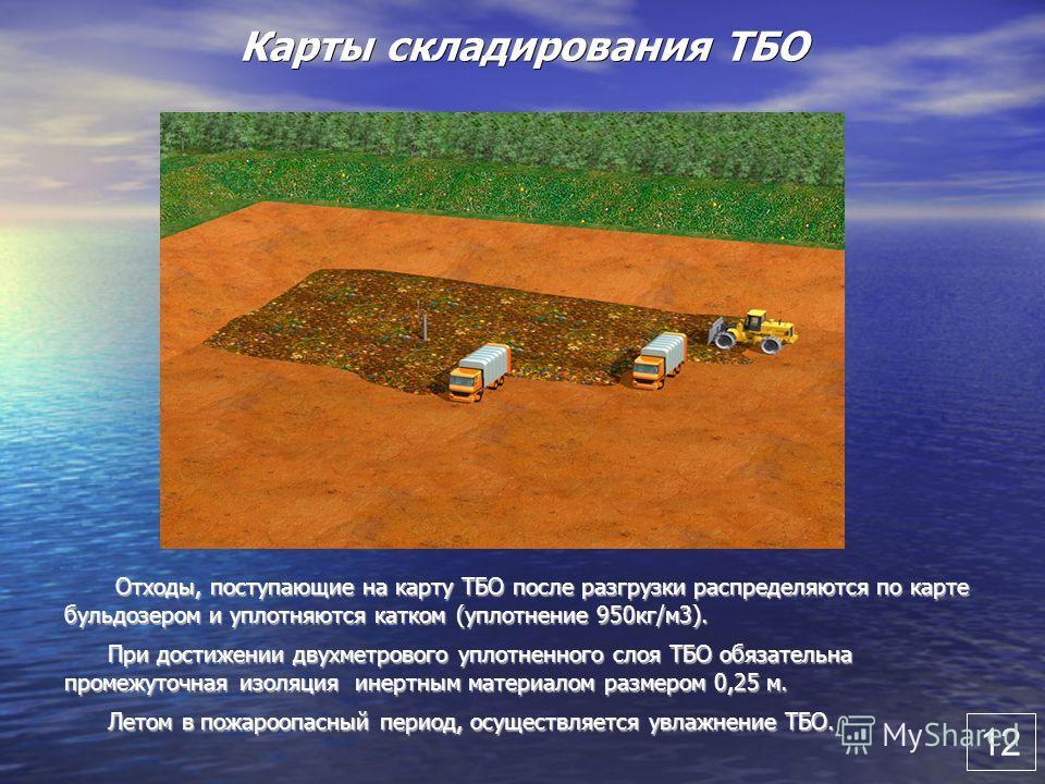 Карты складирования ТБО Отходы, поступающие на карту ТБО после разгрузки распределяются по карте бульдозером и уплотняются катком (уплотнение 950кг/м3). Отходы, поступающие на карту ТБО после разгрузки распределяются по карте бульдозером и уплотняютс