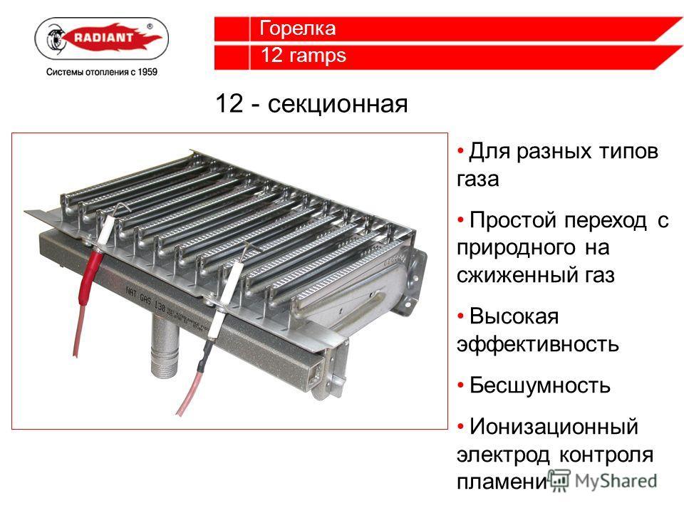 12 ramps Горелка Для разных типов газа Простой переход с природного на сжиженный газ Высокая эффективность Бесшумность Ионизационный электрод контроля пламени 12 - секционная