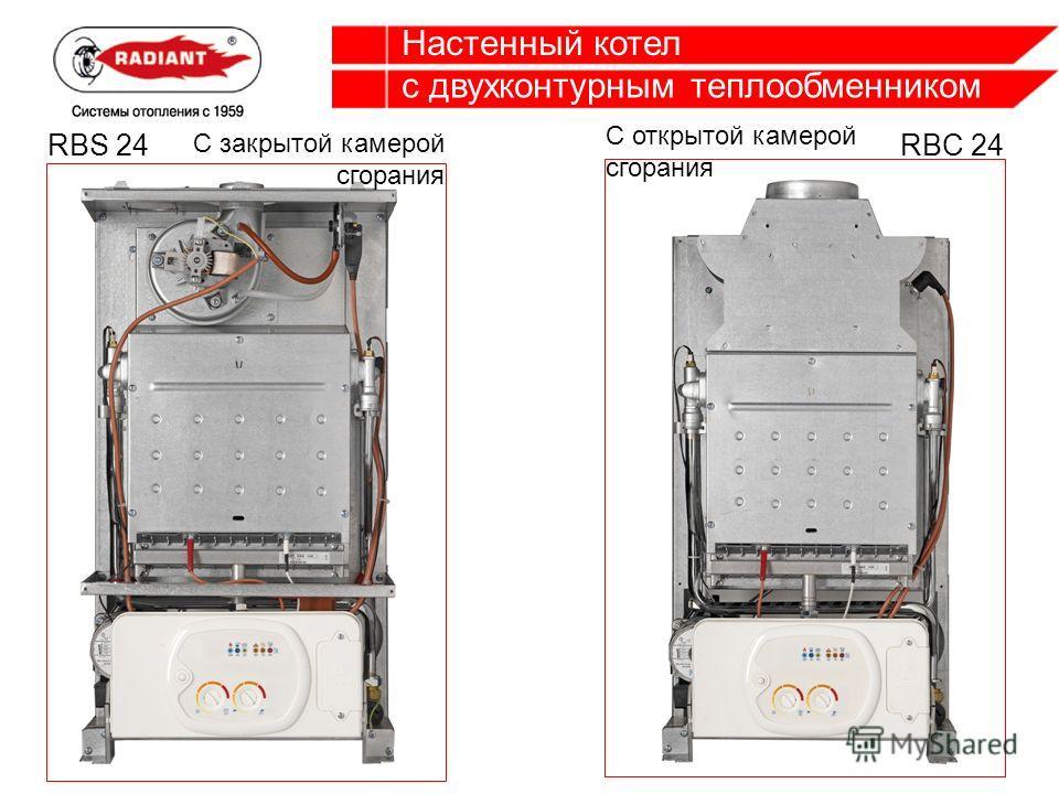 Настенный котел с двухконтурным теплообменником С открытой камерой сгорания С закрытой камерой сгорания RBC 24RBS 24