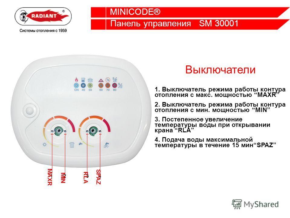 Панель управления SM 30001 MINICODE® 1234 MAXR MIN RLA SPAZ Выключатели 1. Выключатель режима работы контура отопления с макс. мощностью MAXR 2. Выключатель режима работы контура отопления с мин. мощностью MIN 3. Постепенное увеличение температуры во